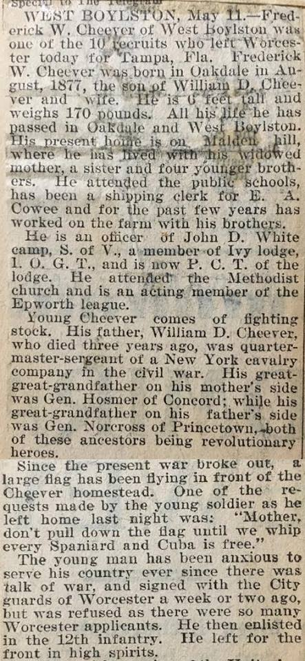 Newspaper article about Frederick W. Cheever 1