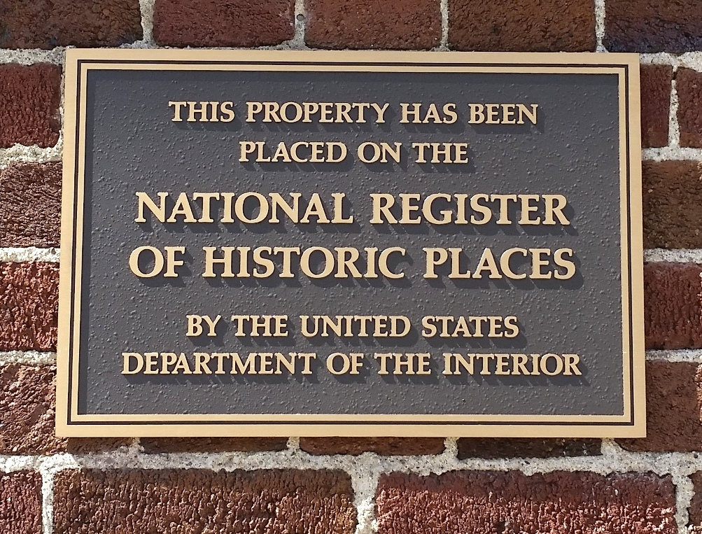 Photo of the National Register of Historic Places plaque