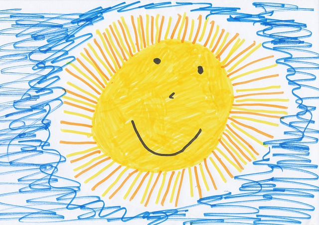 Child's drawing of the sun