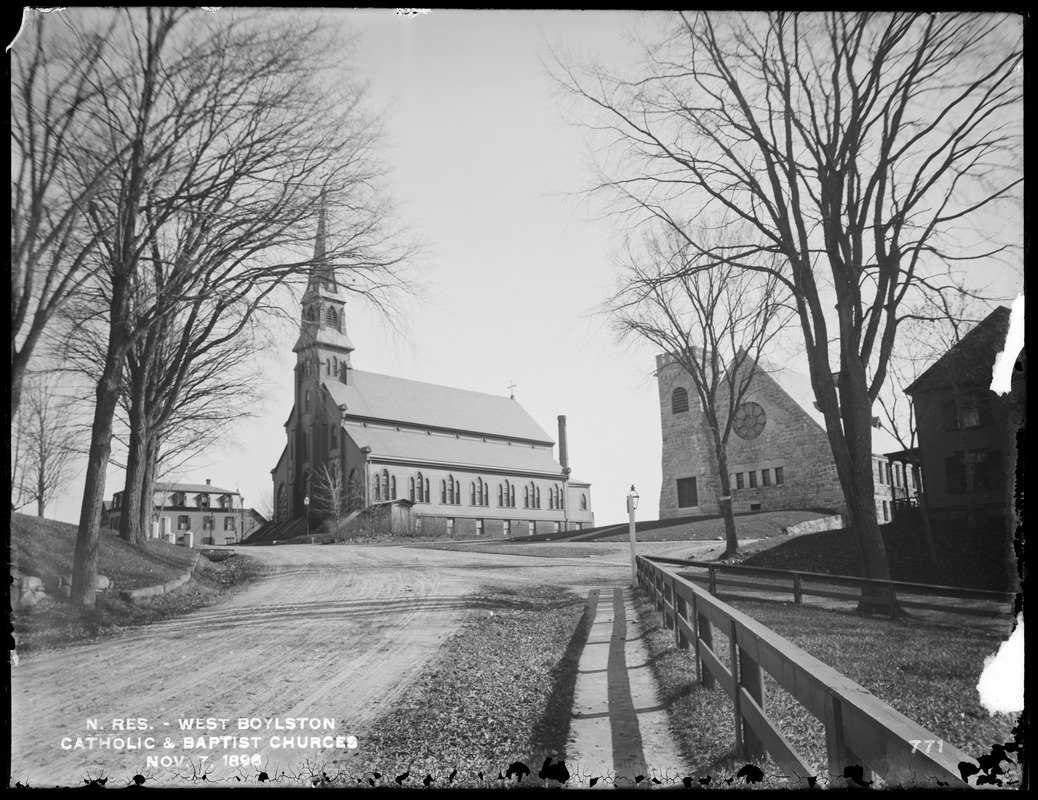 Photograph of the Catholic and Baptist Churches