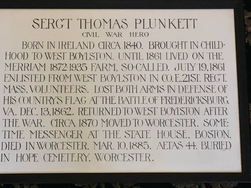 Plaque about Sgt. Thomas Plunkett