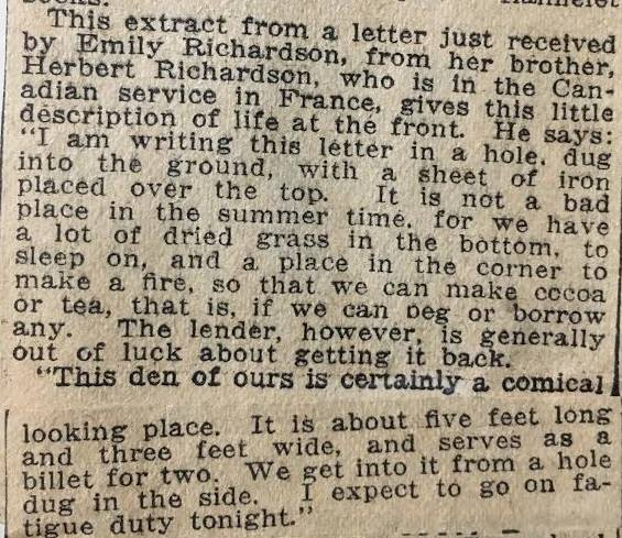 WWI, newspaper article