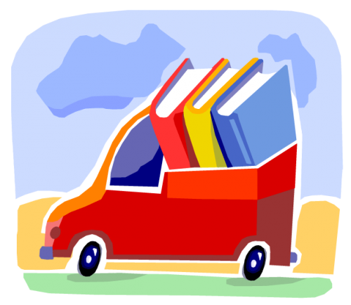 Illustration of a truck full of books